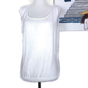 Lafayette 148 NY White Sleeveless Top Size XL